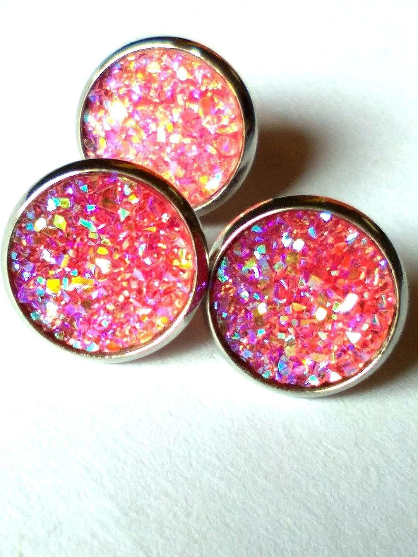 24pairs/pack Druzy Stud Earrings Delicate Glittering Ear Studs Jewelry luo ri xian