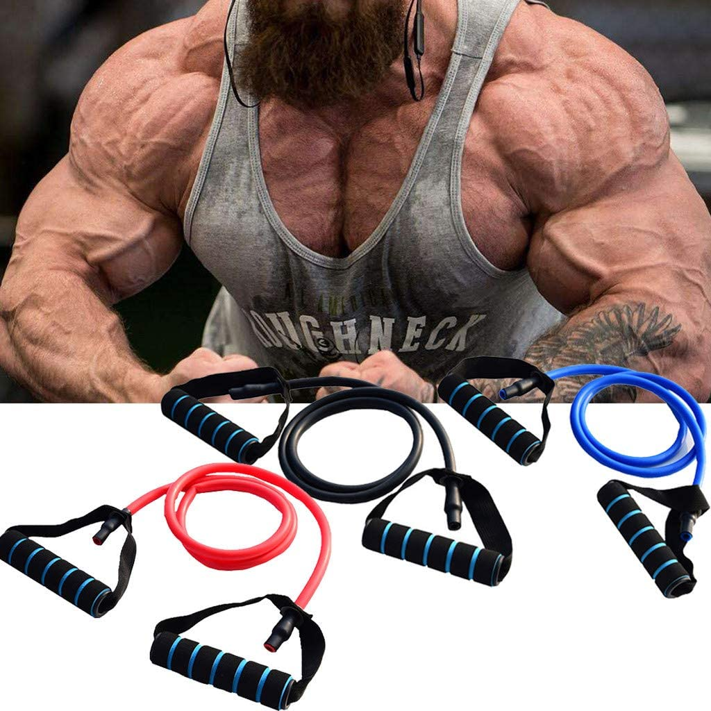 Single Resistance Band with Handle Muscle Chest Expander Fitness Exercise Band Elastic Sport Workout Loop Band Puller Strength Band