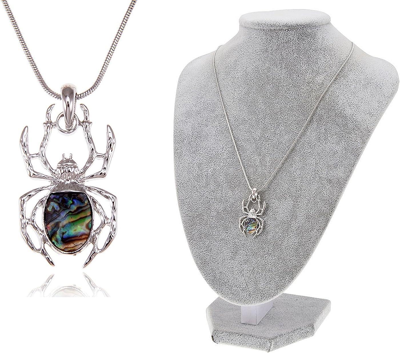 Blanco Plata Diamantes De Imitación de Cristal Checo Araña Insecto Bug Colgante Collar Joya