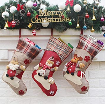 Calcetines navideños, 45,7 cm, 3 unidades, diseño de Papá Noel Juguetes