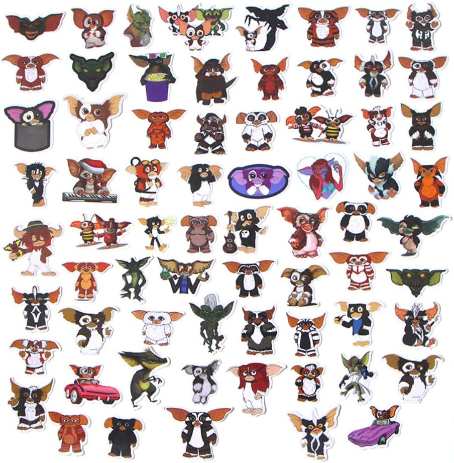 Horror Gremlins Gizmo Themed 66 Piece Character Sticker Decal Set for Kids Adults - Laptop Motorcycle Skateboard Decals