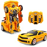 YARMOSHI Car Robot with Remote Control and USB Charger. The Commando Lights Up with Flashing Lights. Makes Sounds and Dances. Fun  Boys and Girls,13x5.5 x 3 Inches. Age 5+. Yellow