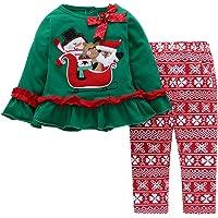 Noubeau Christmas Outfit Toddler Infant Baby Girls Ruffle Top Clothes Set Deer Print Shirt Dress+Pants