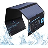 BigBlue 28W Solar Charger with Digital Ammeter, 2USB(5V/4A Max Overall), Portable Waterproof Solar Panels Phone Charger Compatible with iPhone 11/Xs/XR/X/8, iPad, Samsung Galaxy, LG, Google Pixel etc.