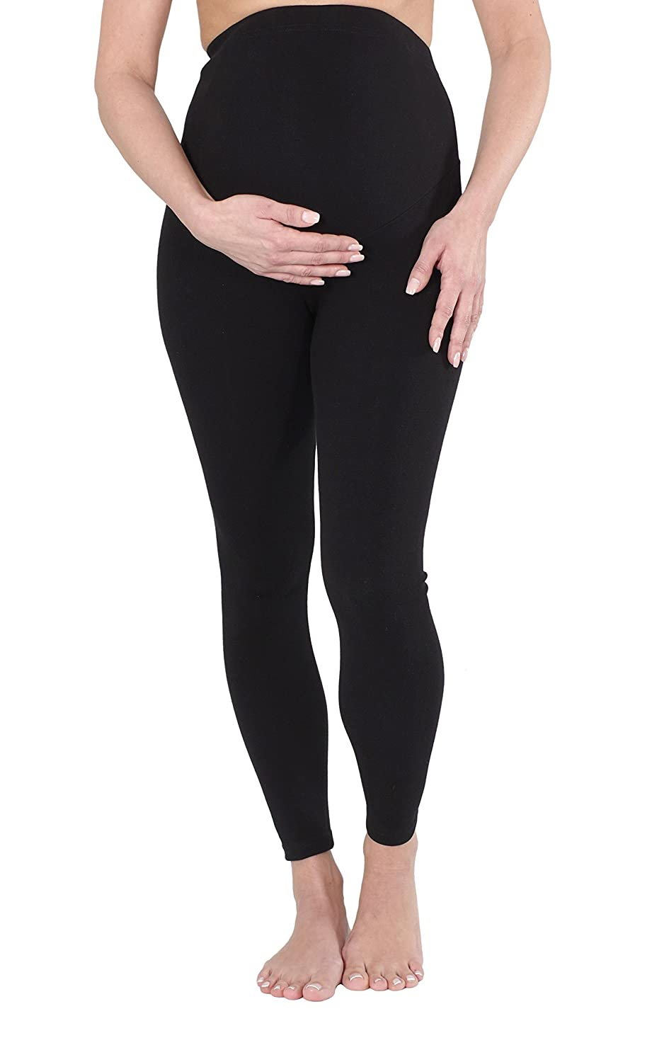 Herzmutter Black maternity-pregnancy leggings, made of cotton, lined-opaque, extra comfortable-elastic for women (1500)