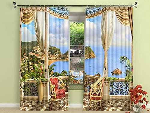 LB European Ocean Scenery Window Curtains for Living Room Bedroom,Blue Sea Water Surrounded by Mountains 3D Window Treatment Blackout Window Drapes 2 Panels,42 x 63 Inches