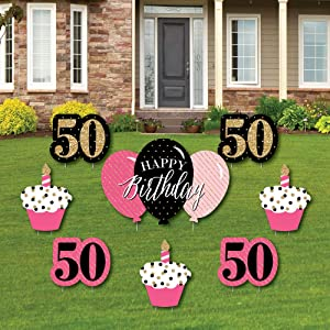 Big Dot of Happiness Chic 50th Birthday - Pink, Black and Gold - Yard Sign and Outdoor Lawn Decorations - Happy Birthday Party Yard Signs - Set of 8