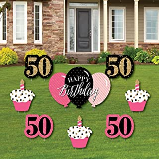 product image for Big Dot of Happiness Chic 50th Birthday - Pink, Black and Gold - Yard Sign and Outdoor Lawn Decorations - Happy Birthday Party Yard Signs - Set of 8