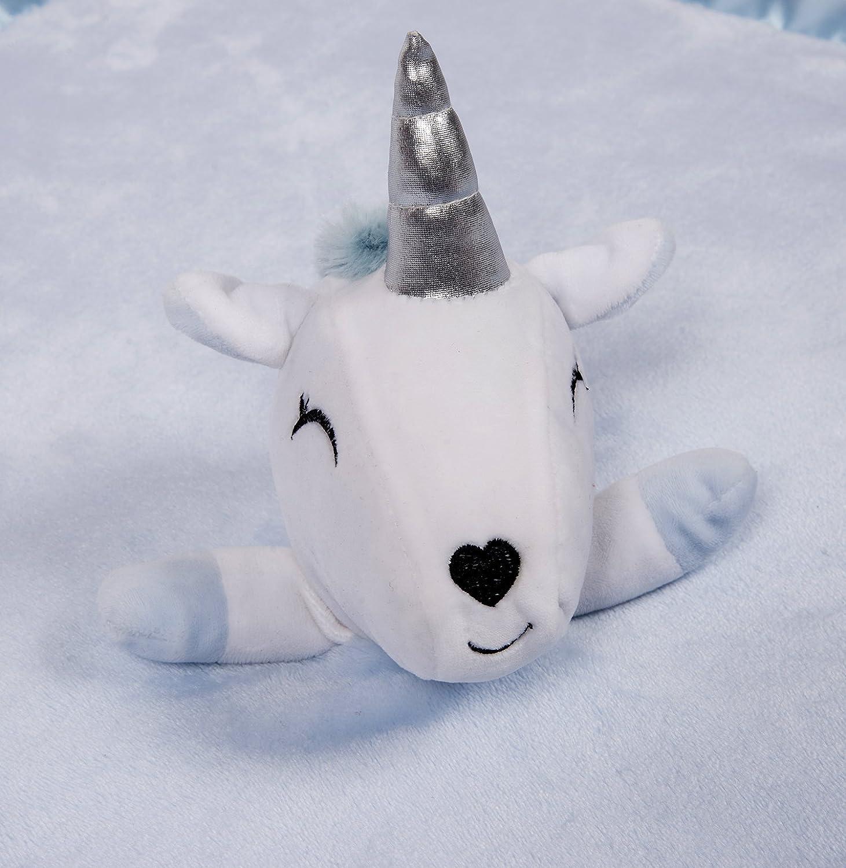 de felpa de franela para beb/é Manta de seguridad de unicornio gran regalo para ni/ños 76,2 x 76,2 cm azul azul