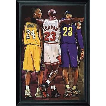 new product 66a41 8438d NBA Legends Lebron James, Michael Jordan & Kobe Bryant Wall Art Decor  Framed Print   24x36 Premium (Canvas/Painting Like) Textured Poster    Basketball ...