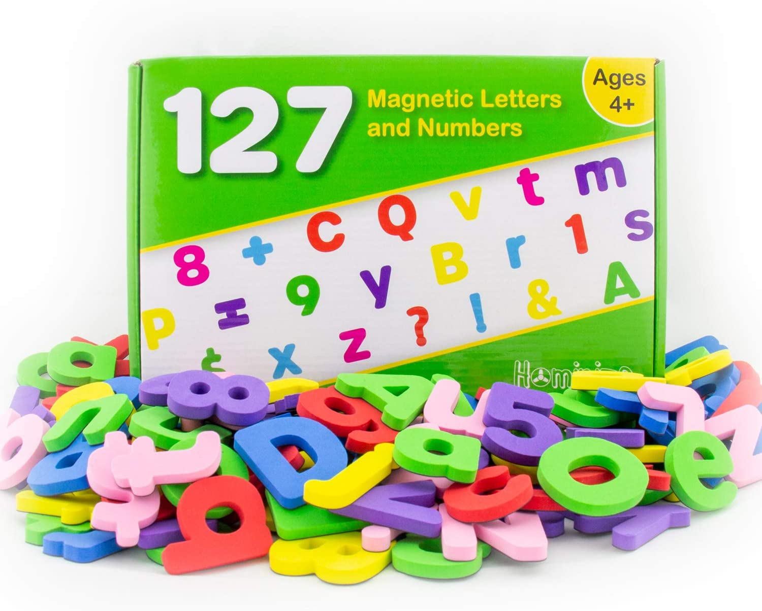 Hominize Magnetic Letters and Numbers for Toddlers – Premium Set of 127 Alphabet Magnets - Extra Large