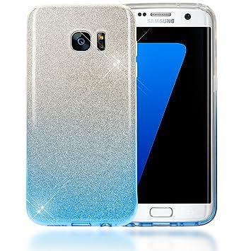 NALIA Purpurina Funda Compatible con Samsung Galaxy S7 Edge, Carcasa Protectora Movil Silicona Ultra-Fina Glitter Gradiente Gel Bumper, Lentejuela ...