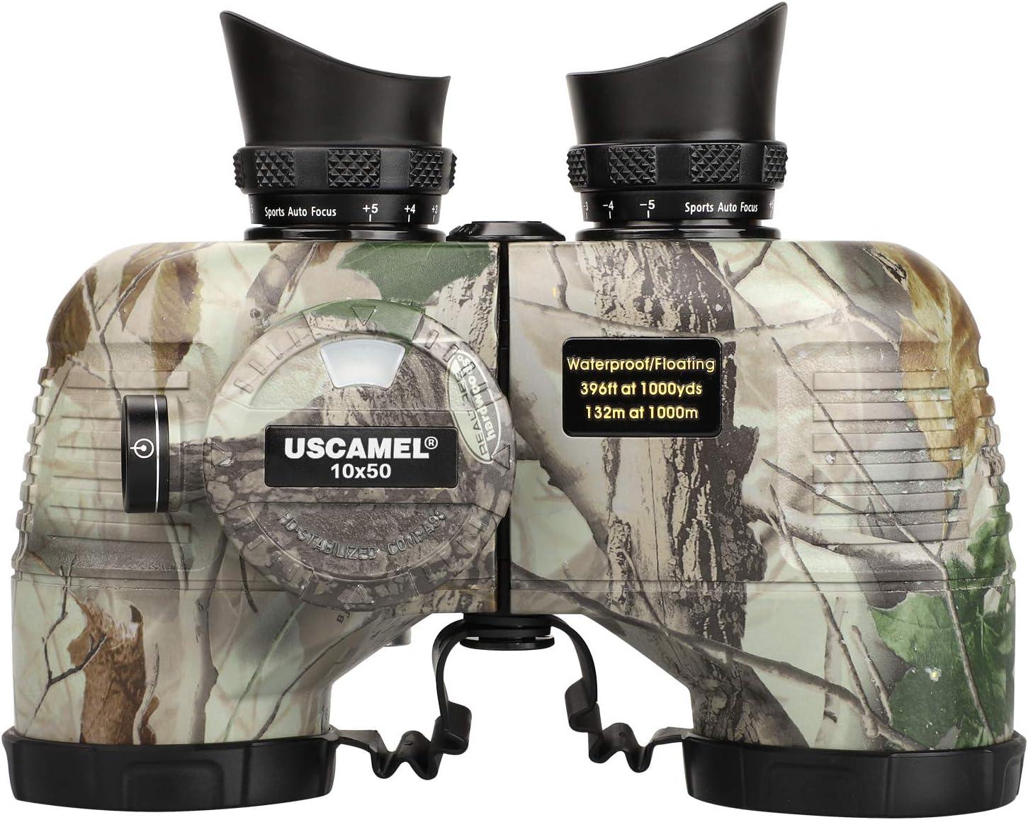 USCAMEL 10x50 Marine Binoculars for Adults, Waterproof Binoculars with Rangefinder Compass,BAK4 Prism FMC Lens Binoculars with Tripod Adapter for Navigation Bird Watching Hunting : Camera & Photo