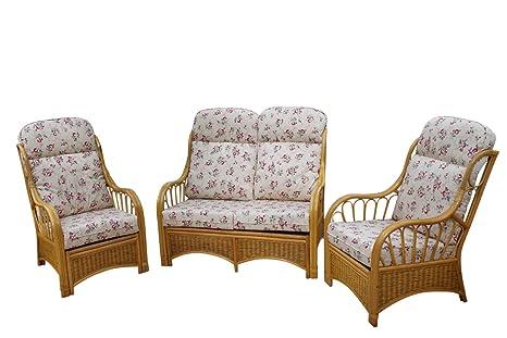 Conjunto de 3 muebles de caña y mimbre modelo Sorrento, para ...