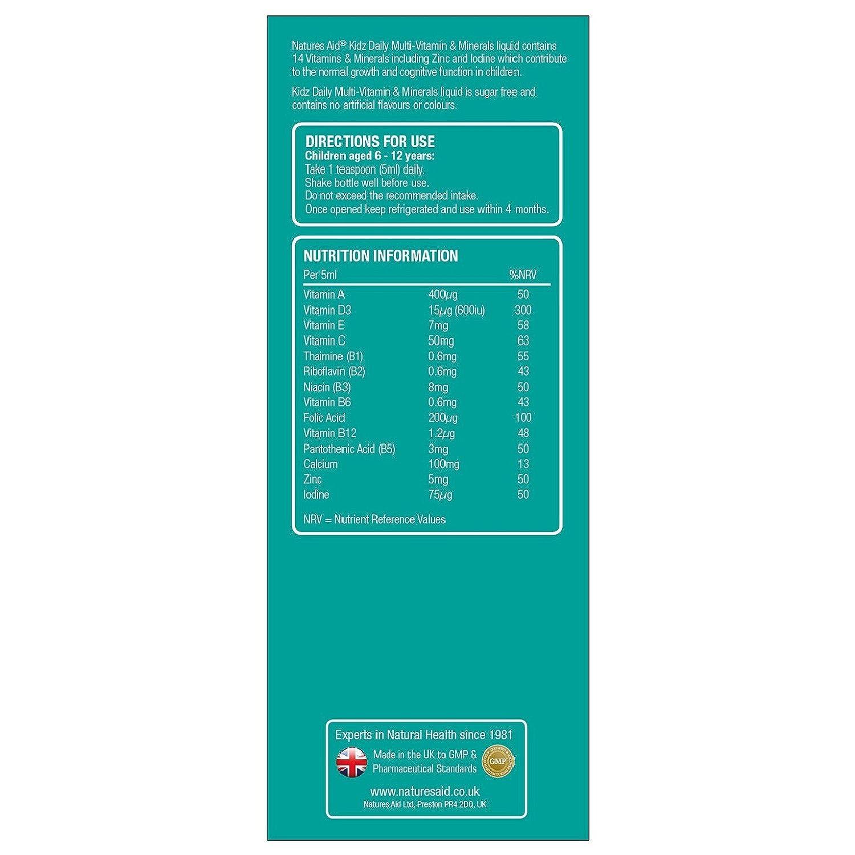 Natures Aid 150 ml Plátano Sabor Kidz Multivitamínico y Minerales: Amazon.es: Salud y cuidado personal