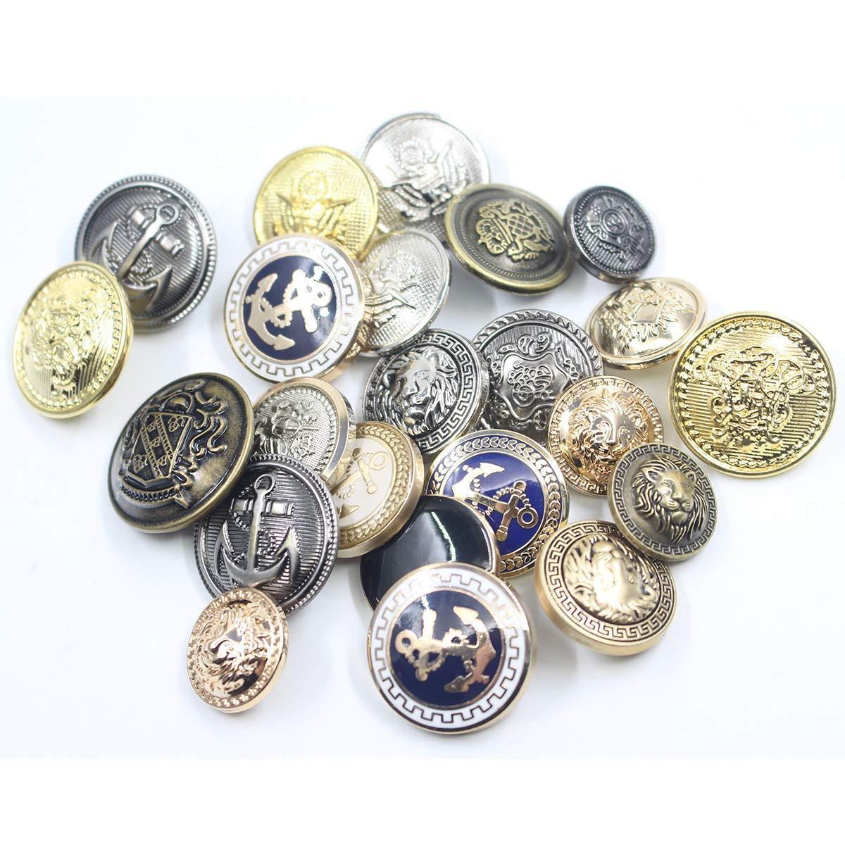 11 Piece Antiqued Bronze Metal Blazer Button Set Uniform Crown Lion- For Blazer Suits Jacket Sport Coat