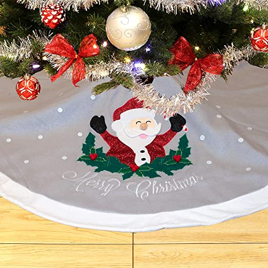 Not Included WEWILL 90cm Luxury Silvery Christmas Tree Skirt with Satin Border Embroidered Snowman Snowflake Xmas Tree Skirt Themed with Christmas Stockings