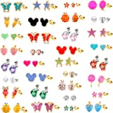 33 Pairs 18K Gold Plated Mixed Colorful CZ Earrings Flower Cute Animal Butterfly Mouse Heart Shape Star Lollipop Ladybug Faux Pearl Stud Earring Set New Year Christmas Gift for Girls Kids