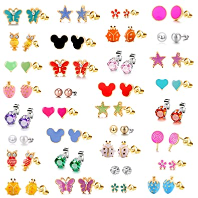 c50a51f377a06 10/8/33 Pairs 18K Gold Plated Small Cute Simple Post Stud Earrings Set for  Girls Kids Gold Tone Mix and Match