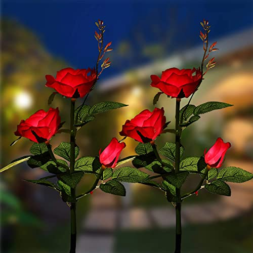 XLUX Solar Powered Rose Lights lamp Flower Stake, for Garden Patio Yard Christmas Pathway Decoration Deco, Red, 2 Pack