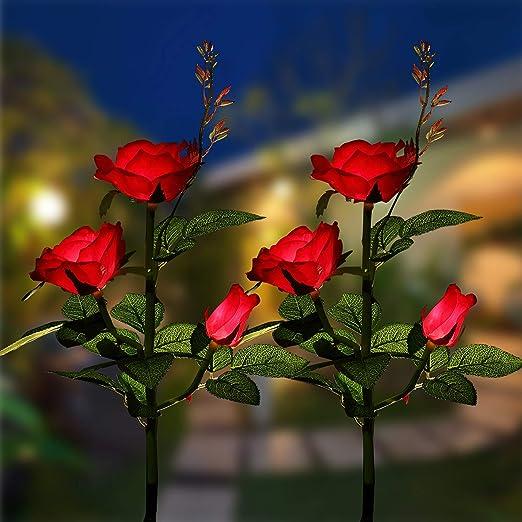 XLUX - Lámparas solares para jardín, con luces LED solares en forma de rosa, para decorar el jardín, el césped, la terraza, el campo, 2 unidades, color rojo: Amazon.es: Jardín