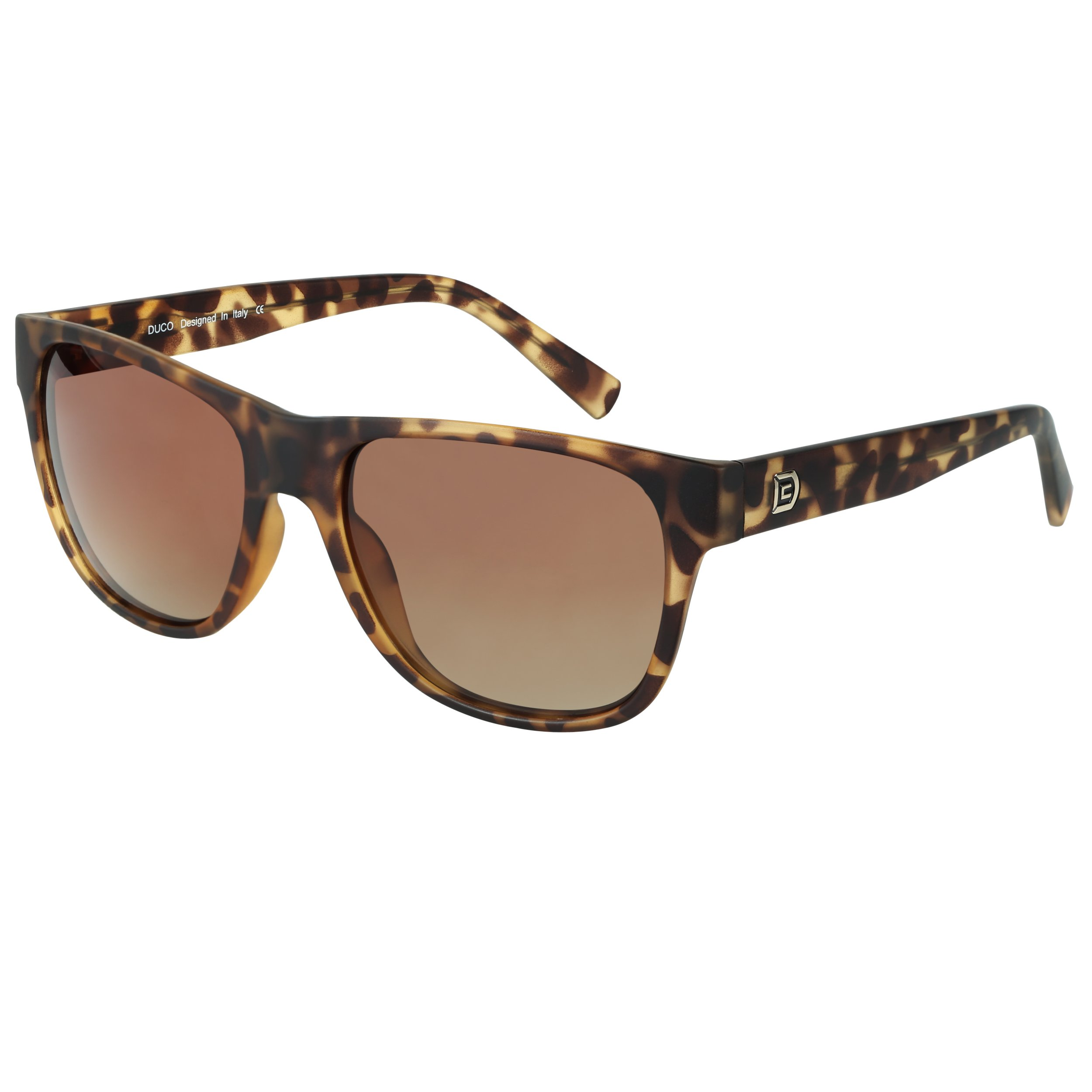 DUCO Classic Polarized Acetate Sunglasses for Men and Women 2145 (Matte Tortoise Frame Gradient Brown Lens) by DUCO