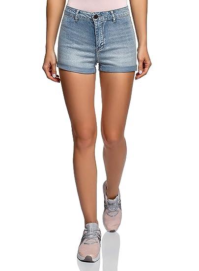Hocaies Damen Jeansshorts Basic in Aged-Waschung Jeans Bermuda-Shorts Kurze Hosen aus Denim f/ür den Damen High Waist Denim Kurze Hose mit Quaste Ripped Loch Hotpants Shorts