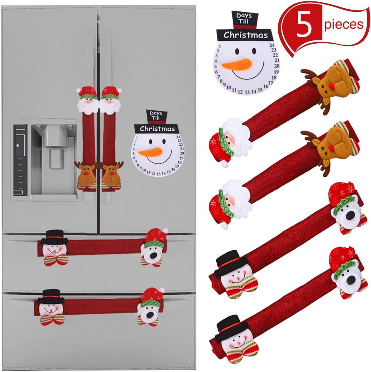 Acronde 4PCS Christmas Refrigerator Door Handle Covers Set and 1PCS Snowman Fridge Decal, Oven Microwave Dishwasher Door Handle Protector for Christmas Kitchen Decoration