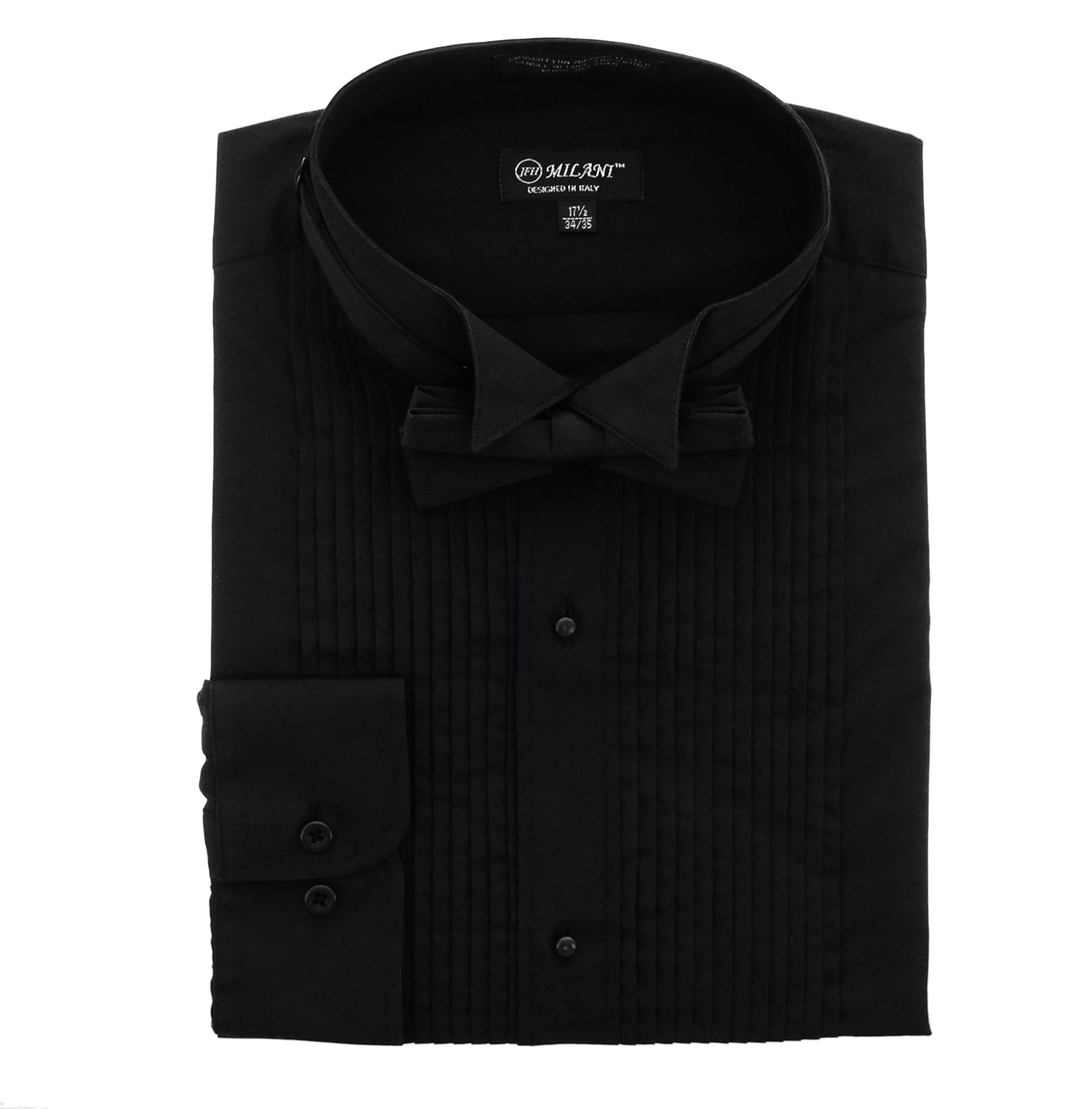 Milani Wing Collar Tuxedo Shirt with Convertible Cuffs and Bow Tie (Black) (16.5'' Neck 34/35) by Milani