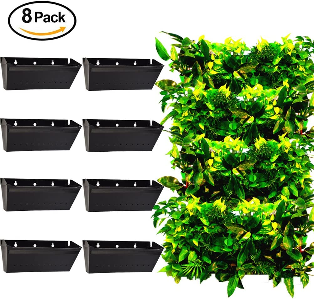 AMRMA Pack de 8, jardín Vertical Maceta Eco-Friendly Durable PP Resina Soporte de Pared para Colgar Planta de Crecimiento Pot para Oficina en casa Interior al Aire Libre Uso: Amazon.es: Jardín