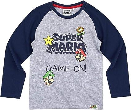 T Shirt Manches Longues Enfant Mario et Luigi GrisMarine de 6 à 10ans