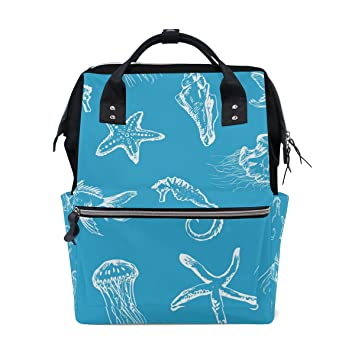 a17c440d33bc MAPOLO Starfish Jellyfish Seashell Diaper Backpack Large Capacity ...