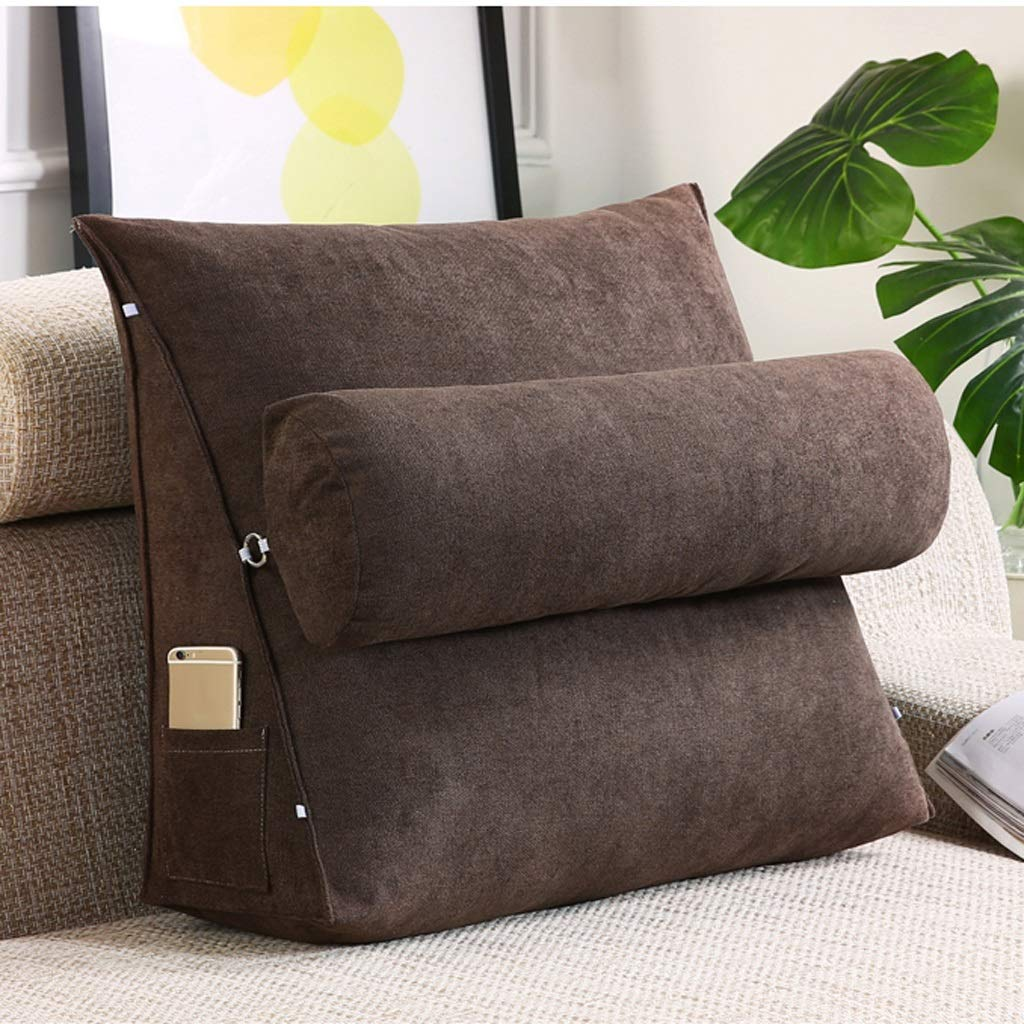 Lil with Headrest Sofa Waist Belt Triangle Cushion, Bed Head Large Office Backrest, Protection Neck Pillow,Removable Washable (Color : Brown, Size : 605020cm)