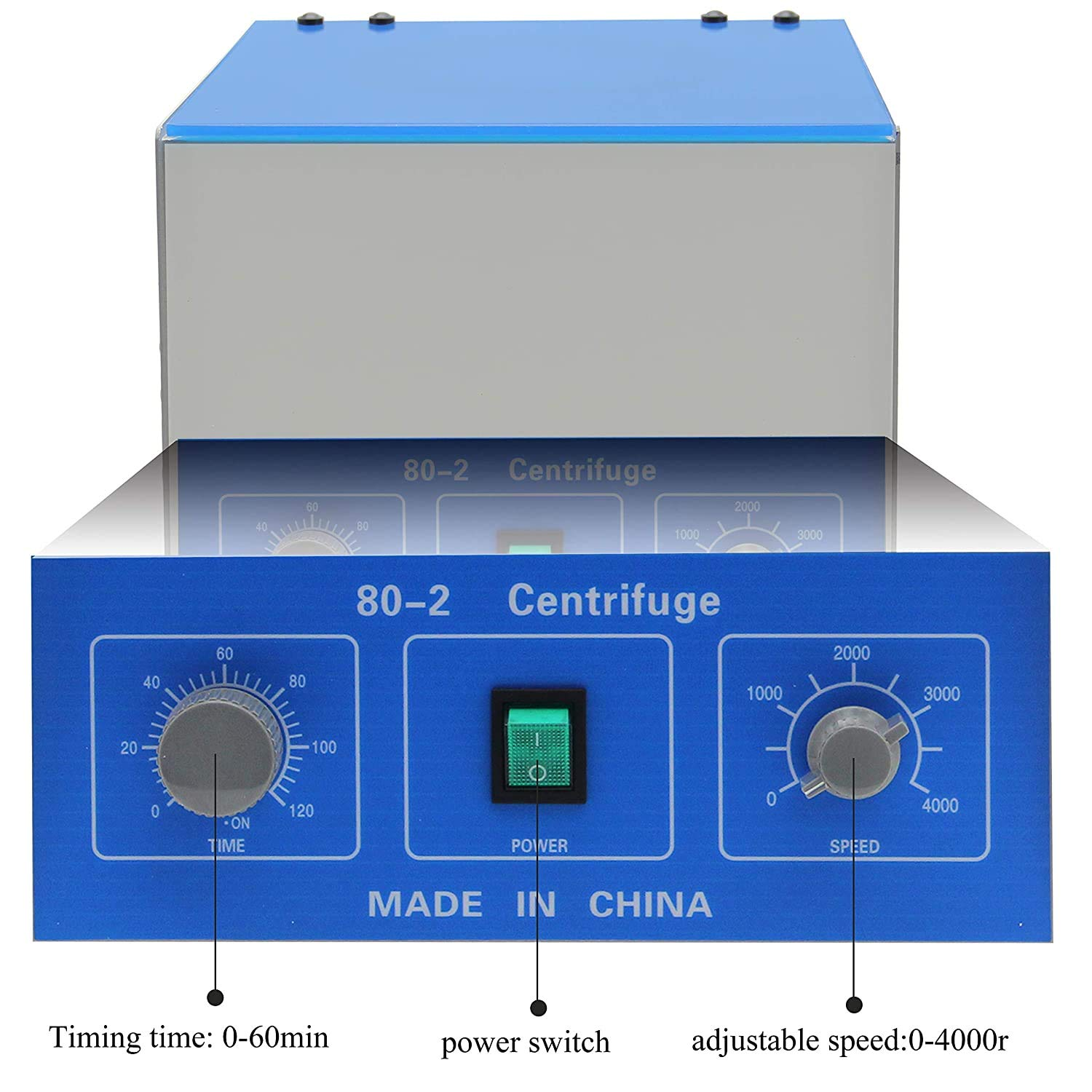 Timer 0-60 Minutes Capacity 20 ml x 6 HARTI Electric Centrifuge 220V Laboratory Desktop Low Speed Centrifuge with Timer and Speed Control 4000 RPM