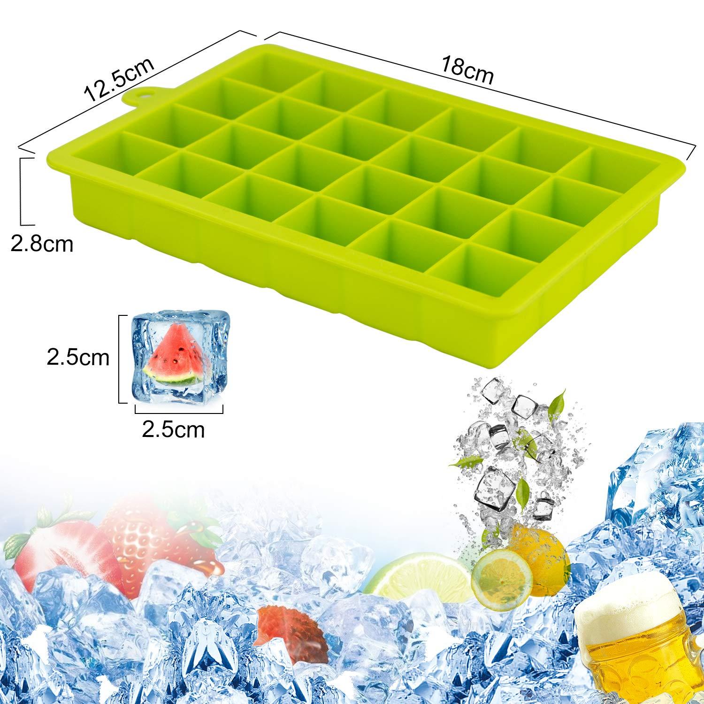 Compra acmetop Forma de Cubo de hielo de silicona, 3 cubitos de hielo de silicona de forma, LFGB Certificado, máquina de hielo de 24 cubitos de hielo ...