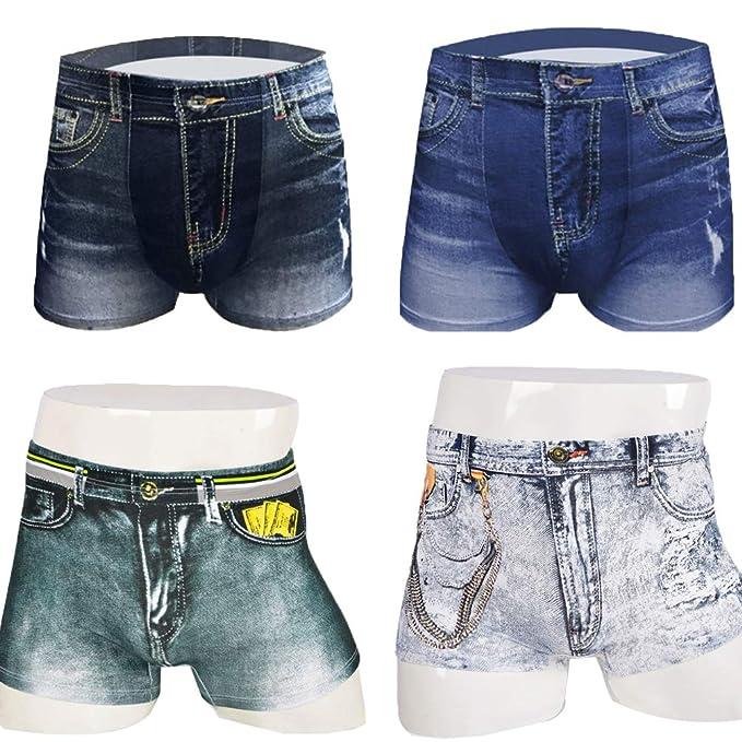 Paquete de 4 Moda Vaquero Impresión Juventud Boxer Shorts Algodón Cómodo Respirable Hombres Ropa Interior