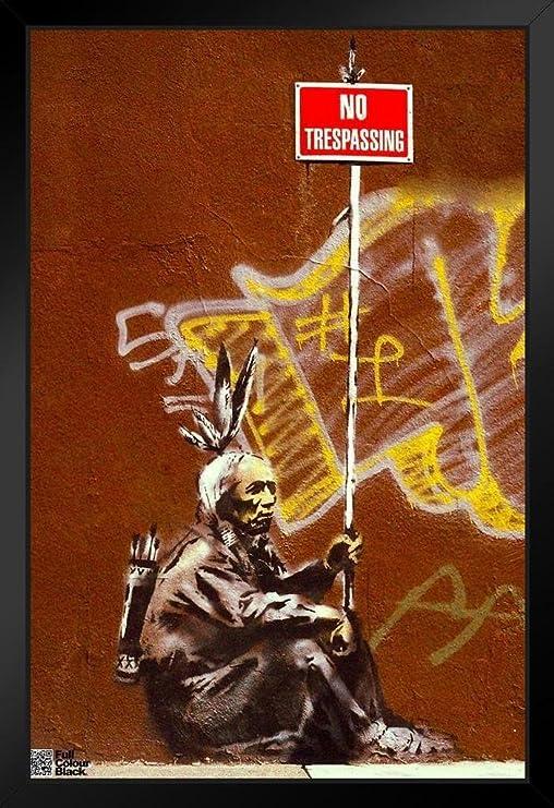 Banksy Luxury Framed Picture Print No Trespassing-Graffiti Art-Best On