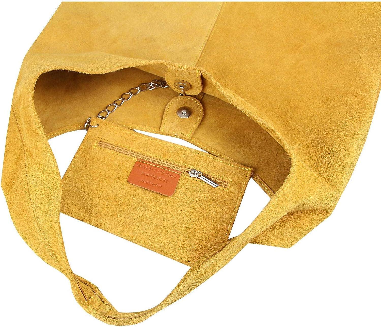 OBC Made in Italy Sac à main en cuir pour femme Métal Argenté Moutarde