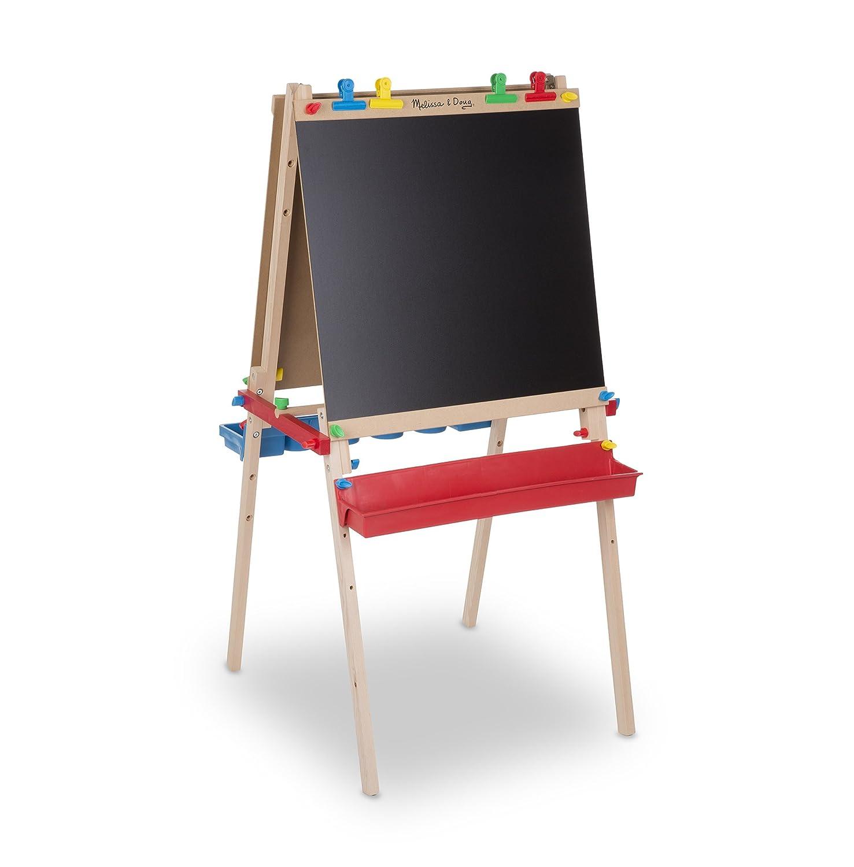 Melissa & Doug Deluxe Standing Art Easel – Dry-Erase Board Chalkboard Paper Roller