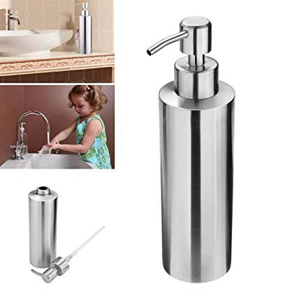 Soap Dispenser Stainless Steel Size 350 ml. Liquid Soap Dispenser for Kitchens and Bathrooms