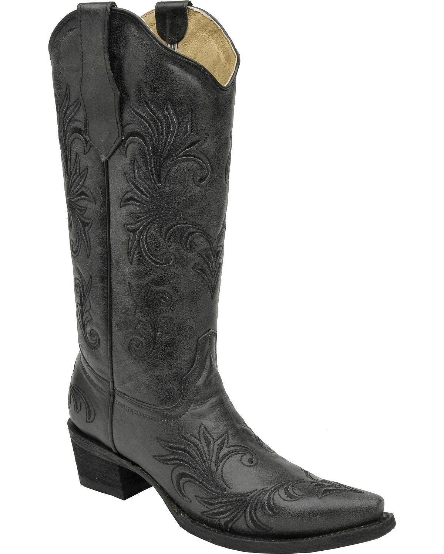 Circle G Women's Filigree Cowgirl Boot Snip Toe - L5142 B01FQXYCPE 6 B(M) US|Black