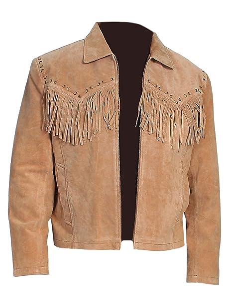 Classyak Hombres de Western Cowboy Chaqueta de Piel de Ante marrón: Amazon.es: Ropa y accesorios