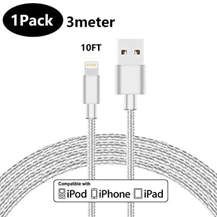 ddc6bae845d Amazon.com: LINKPIN Nylon Braided Lightning Charging Cable for iPhone iPad  iPod Ultra-High Lifespan (10ft, 1-Pack, White): Computers & Accessories