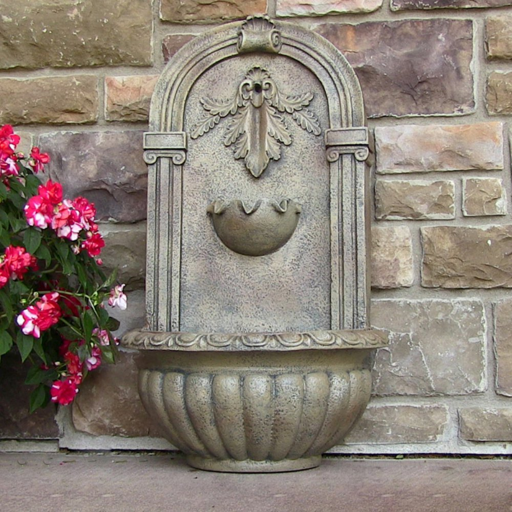 Florence Solar Outdoor Wall Fountain by King Fountain