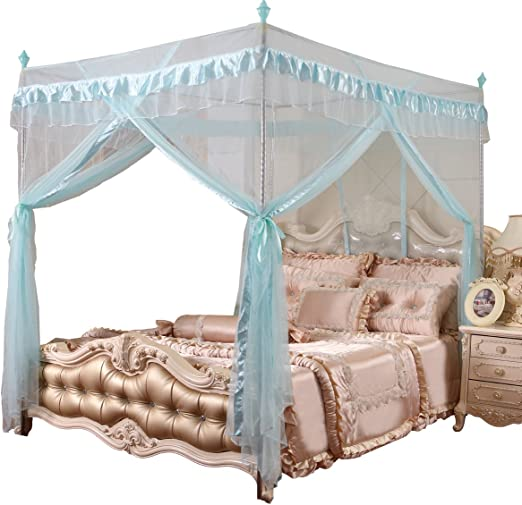 cheap prices release date: first rate Mengersi 4 Corners Canopy Bed Curtains for Girls Kids Adults - Bed Drapes -  4 Opening Mosquito Net - Cute Princess Bedroom Decoration (Queen, Sky ...