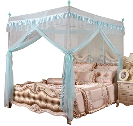 Mengersi 4 Corners Post Bed Canopy Curtains Mosquito Net for Girls Boys Bed  (Queen, Sky Blue)