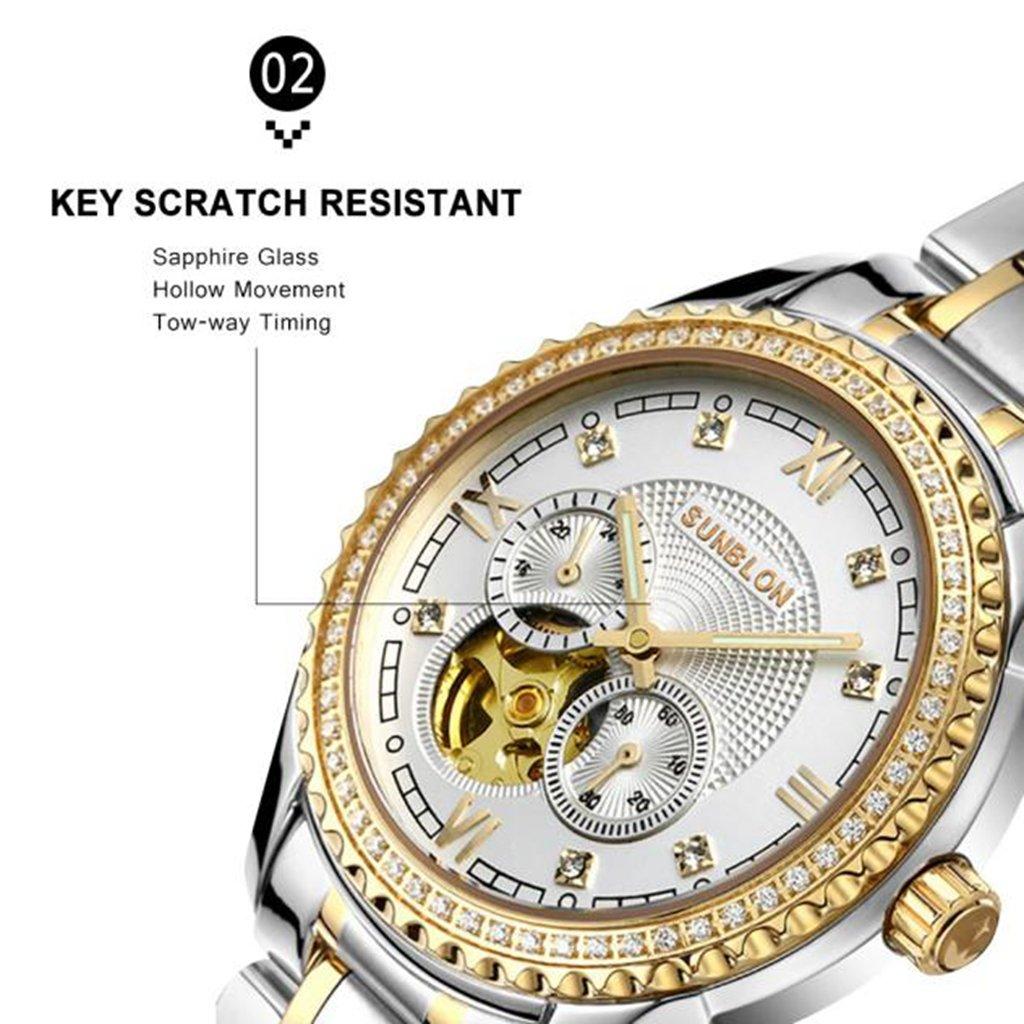 watchpro4u sunblon s505b acero inoxidable resistente al agua reloj mecánico automático esqueleto para hombre: Amazon.es: Relojes
