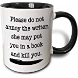 "3dRose ""Please Do Not Annoy The Writer Black"" Mug, 11 oz, Black"