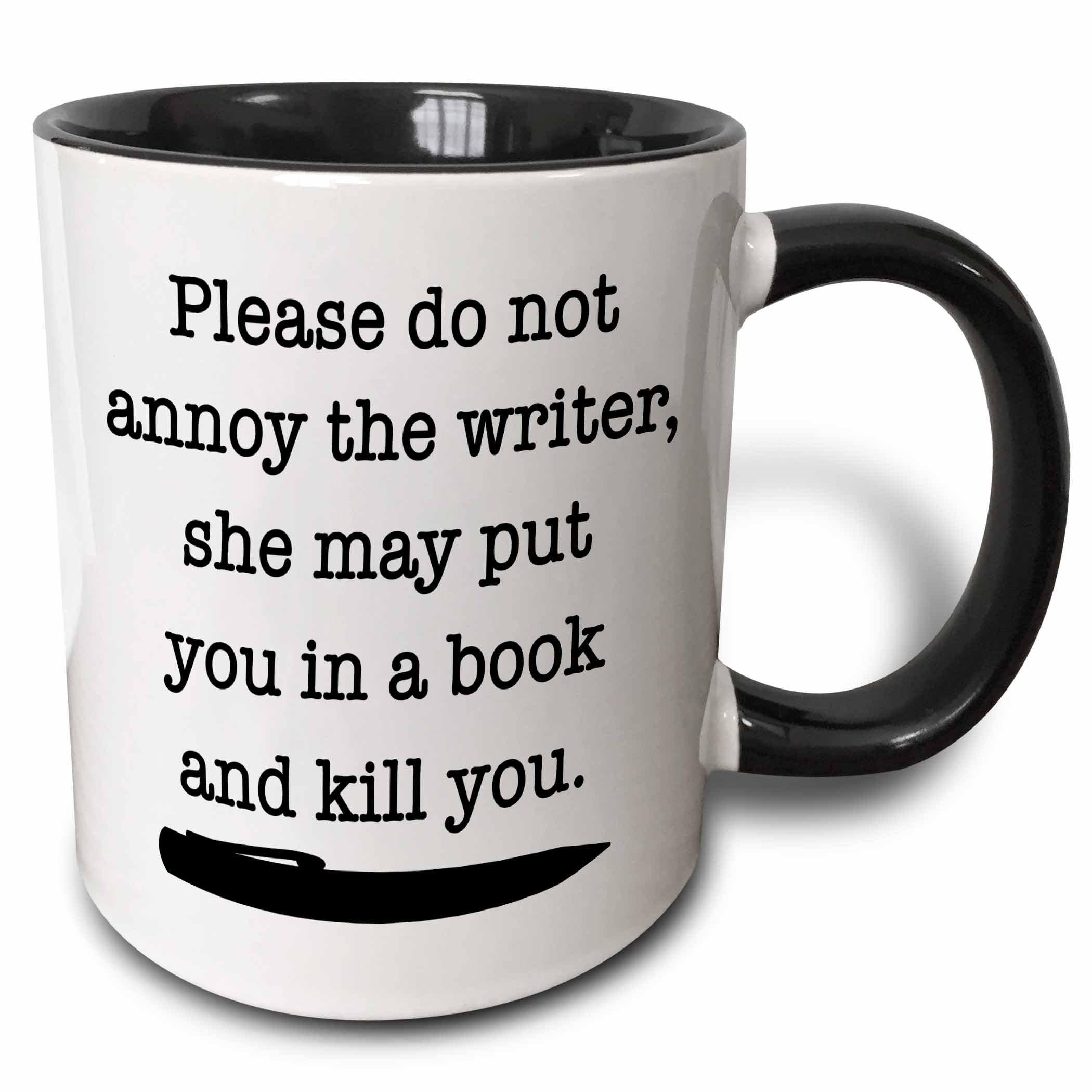 "3dRose ""Please Do Not Annoy The Writer Black"" Mug, 11 oz, Black"