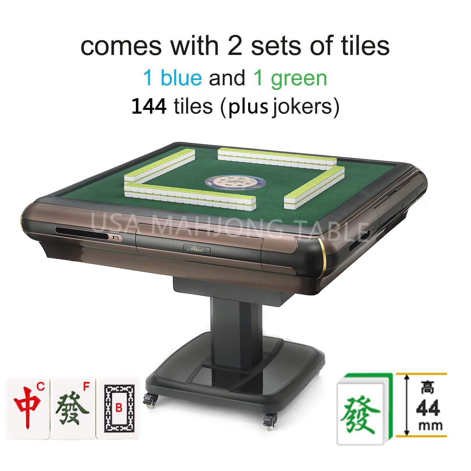 东方不败麻将桌 中國大尺寸手感牌 Foldable Folding Automatic Mahjong Table with Wheels & 4 Drawers - Chinese Style, Philippine Style, Comes 2 Sets of 44mm Large Tiles 大尺寸麻将牌(Blue & Green) & 1 Table Cover